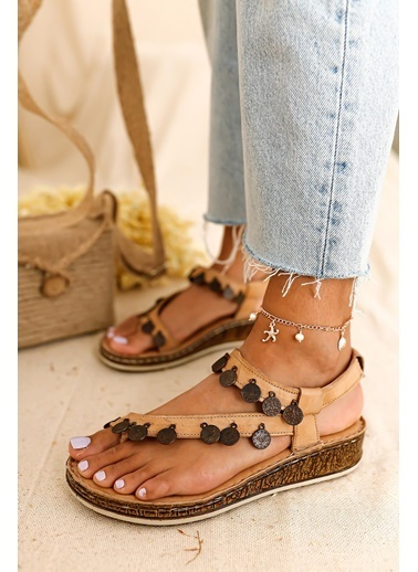 Limoya Hakiki Deri Lilah Vizon Para Detaylı Sandalet Vizon